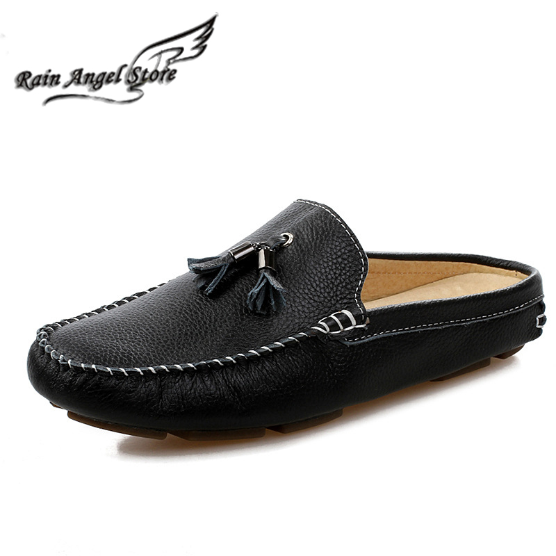 Cowhide Summer Men Flats Close Toe Fashionable Sandals Slippers Beach Shoes Breathable Fringed Leather Men's - Rain Angel store