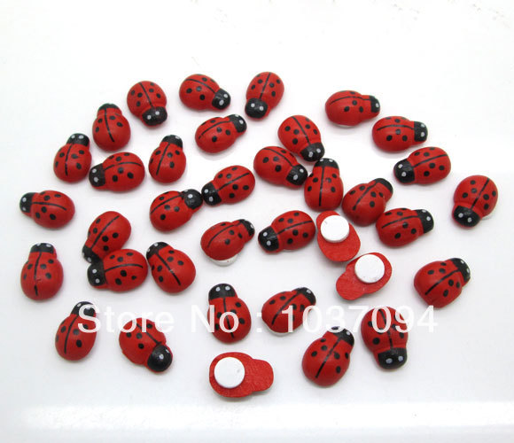 200Pcs Painted Ladybug Self-Adhesive Wood Craft Cabochon Scrapbooking Decoration wall sticker 9x13mm(China (Mainland))