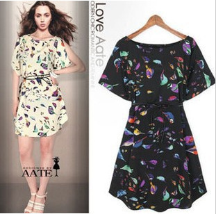 ! 2015 New girl print dress brand dresses loose bird - You Younger store