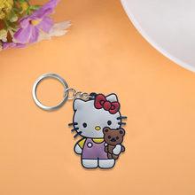 3 pçs/lote Olá Kitty Bonito Dos Desenhos Animados PVC Chaveiros Chave Anéis Para Crianças Presente Para As Mulheres Meninas Saco de Jóias Pingente porte clef(China)