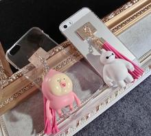 Latest models of mobile phone case transparent cover, cartoon dolls and decorative tassels case for iphone 5s 6 6plus.(China (Mainland))