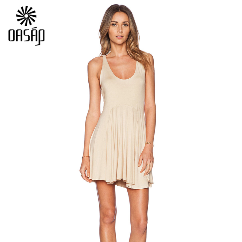 OASAP fashion women dress Sweet Beige Backless Crisscross ...