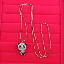 Charming Jewelry Drop Shipping Girls Pretty Enamel Rhinestone Panda Pendant Necklace(China (Mainland))