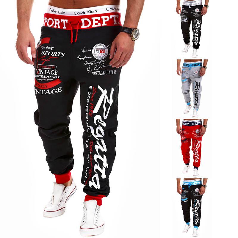 Top Design 2015 Personality Casual Pants Mens Joggers fashion drawstring elastic waist letter printing loose man sports pants(China (Mainland))