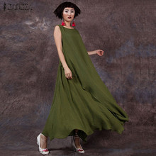 Buy 2017 Summer ZANZEA Women Cotton Linen Retro Dress Long Maxi Casual Loose Sleeveless O Neck Ankle-length Dress Vestidos Plus Size for $12.19 in AliExpress store