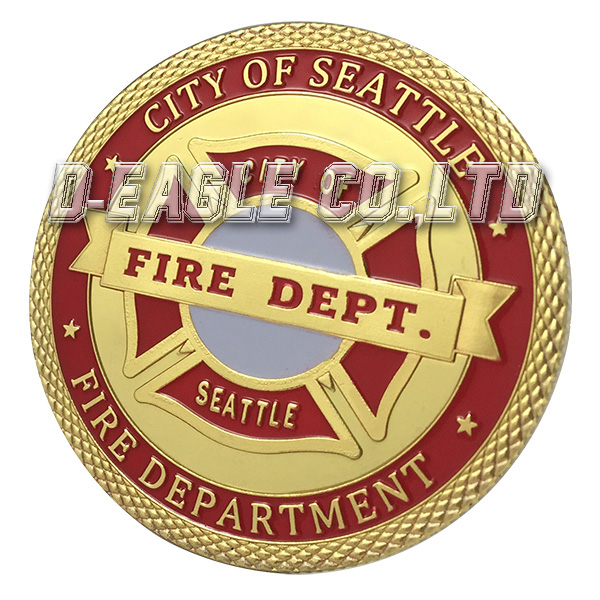 United States City Seattle Fire Department Gold Plated Challenge coin 1177#(China (Mainland))