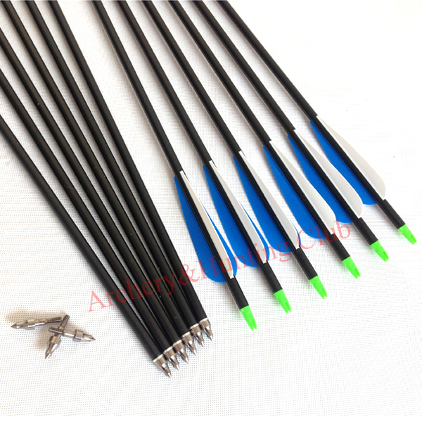 12pcs lot Hunting arrow 12pc 30 aluminum blue white with arrowhead compound bow arrow hunting arrow