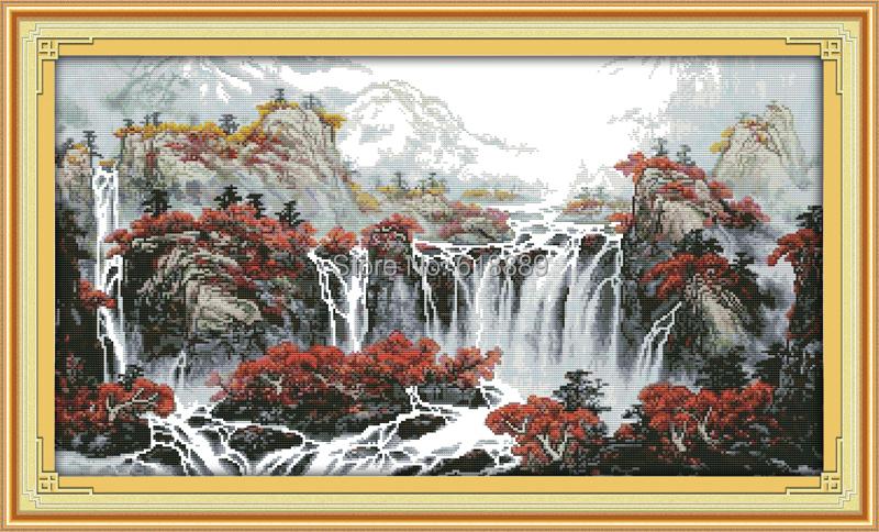 Наборы вышивок крестом водопады 3