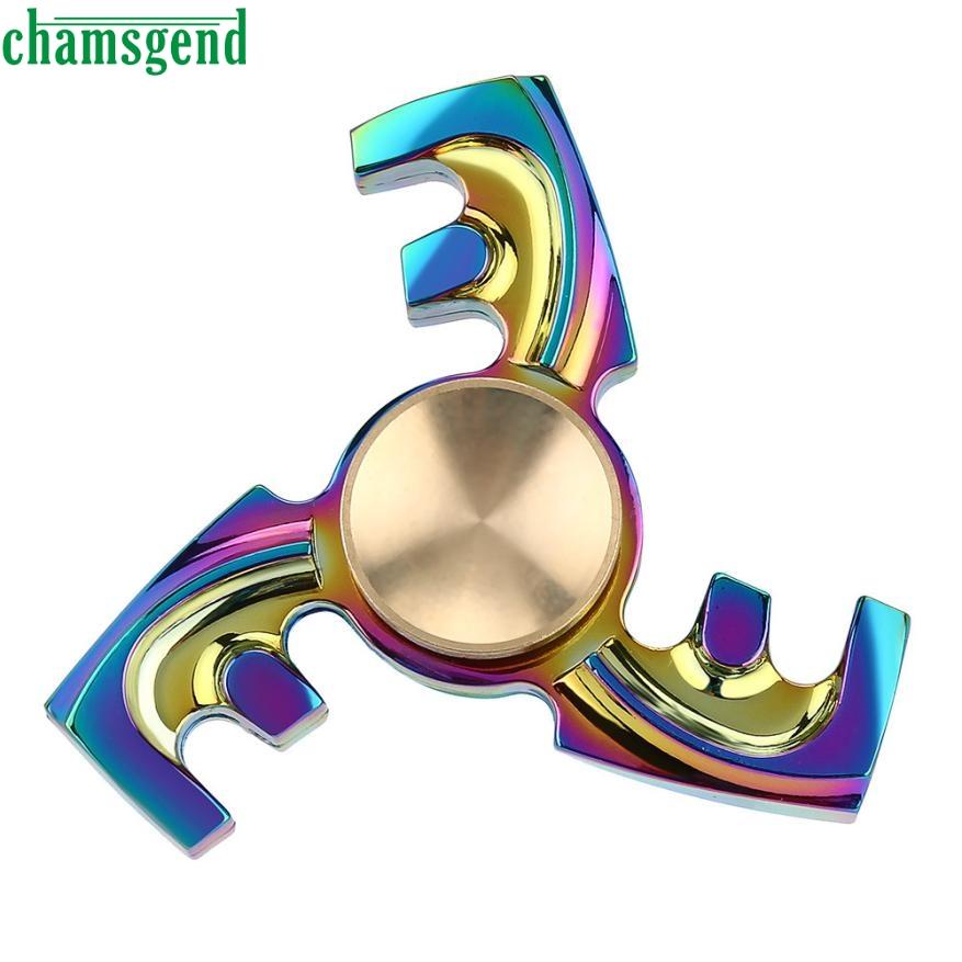 chamsgend juegos divertidos nuevo color gyro juguete mano juguetear spinner juguete de escritorio de acero inoxidable