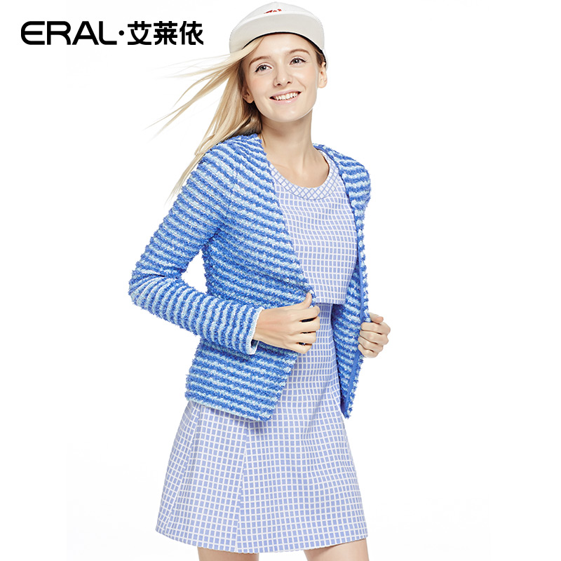 ERAL 2016 Spring Women's Cardigan V-neck Short Strip Slim Long Sleeve Outerwear ERAL33006-ECAA