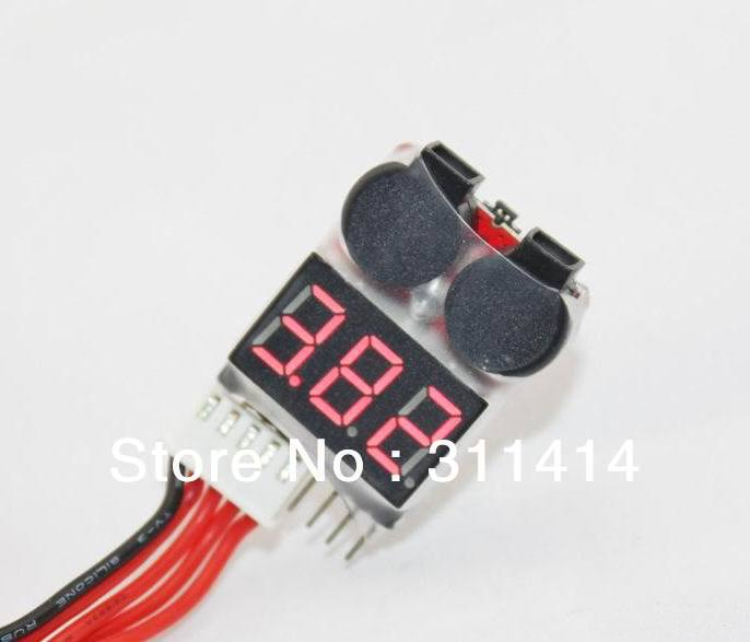 Promotion New 1S-8S Battery Low Voltage Buzzer Alarm dual speaker meter & Voltage Tester 1S 2S 3S 4S 5S 6S 7S 8S Free Shipping(China (Mainland))