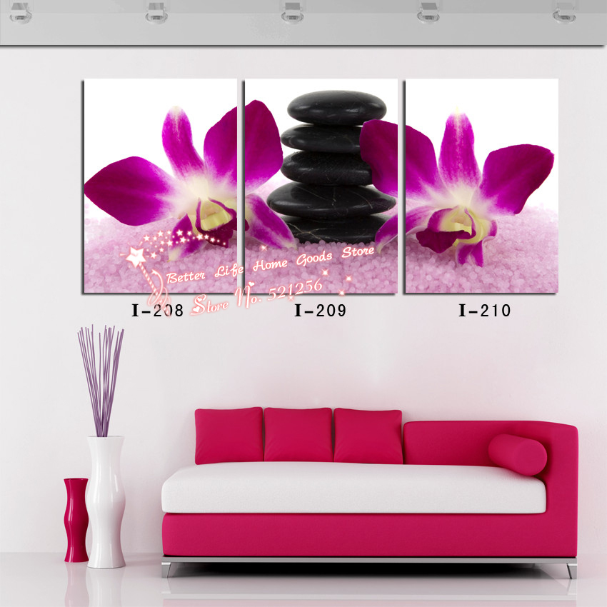 Modern Wall Art Home Decoration Printed Oil Painting Pictures No Frame 3 Panel Purple Orchid and Black Stones Beauty Salon Decor(China (Mainland))