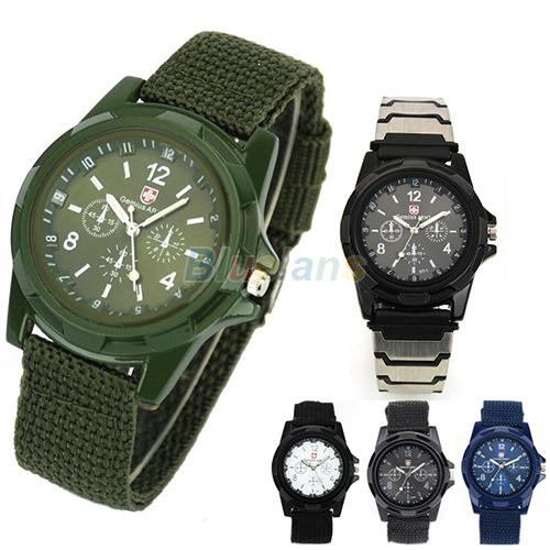 New Solider Military Army Men's Sport Style Canvas Belt Luminous Quartz Wrist Watch 4 Colors 1ET2(China (Mainland))