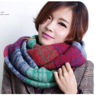 2014 Korean New Blending Scarf Double Trap Head Scarf Knitted Wool Mufflers Autumn and Winter Unisex Neckerchief Free Shipping(China (Mainland))