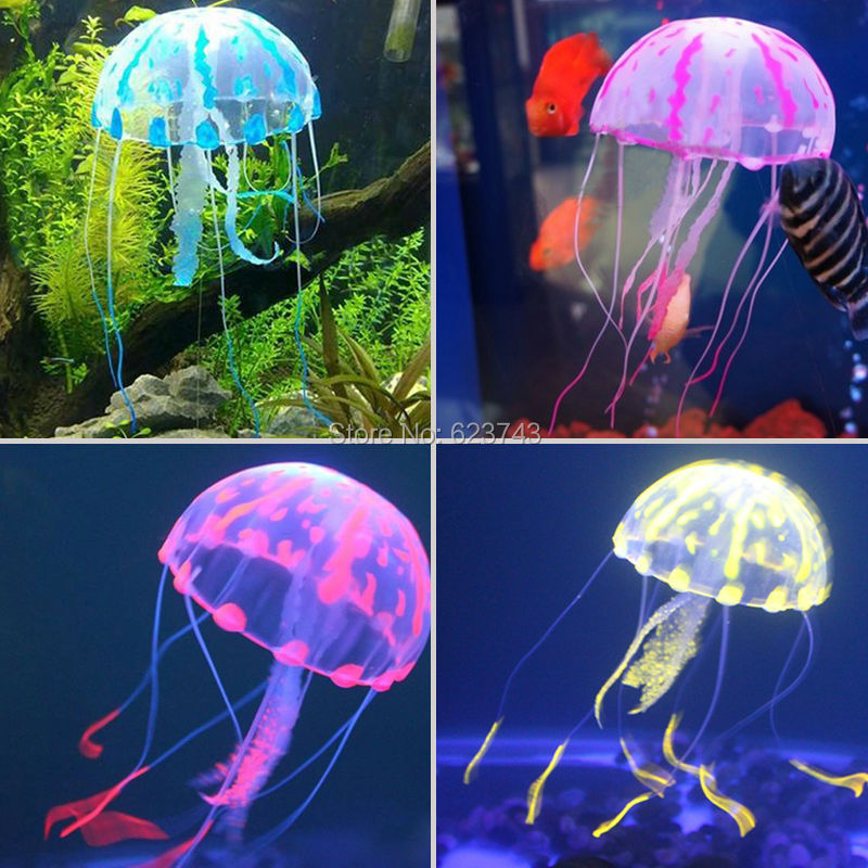 5pcs lot colorful silicon fluorescent floating glowing for Aquarium jellyfish decoration