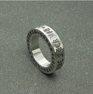 Titanium steel vintage scripture man antique silver finger ring, punk retro Roman letter tail ring - Cici's Friends store