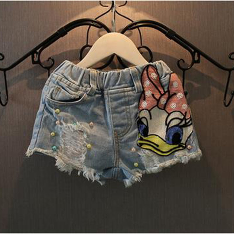 2017 summer new Korean fashion girls cartoon printed cloth affixed sequins hot pants jeans children cotton shorts free shipping