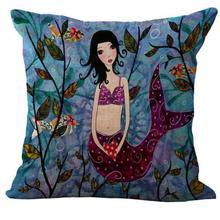 Mediterranean Style Cartoon Animation Mermaid Linen Kids Throw Pillow