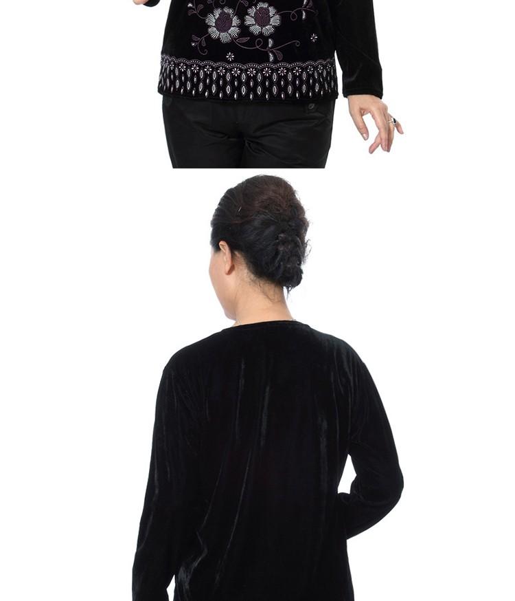 Autumn Quinquagenarian Velvet Blouses Flannel Tops Middle age Women\'s Red Blue Black Purple Blouse Flower Pattern Clothings Mom bbbbb