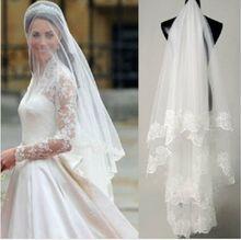 Free shipping Hot Sale High Quality Wholesale Wedding Veils Bridal Accesories Lace Bridal Veils White/Ivory(China (Mainland))
