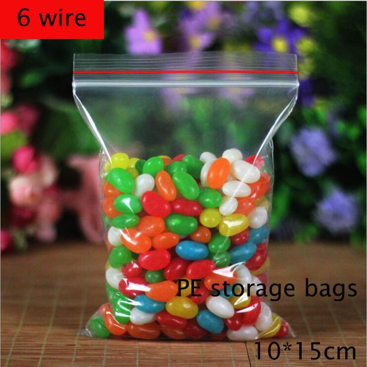 100pcs 6 wire 10x15cm Self Sealing Zipper Ziplock Food storage bags Quality PE health candy fruit Snacks Storage bag(China (Mainland))