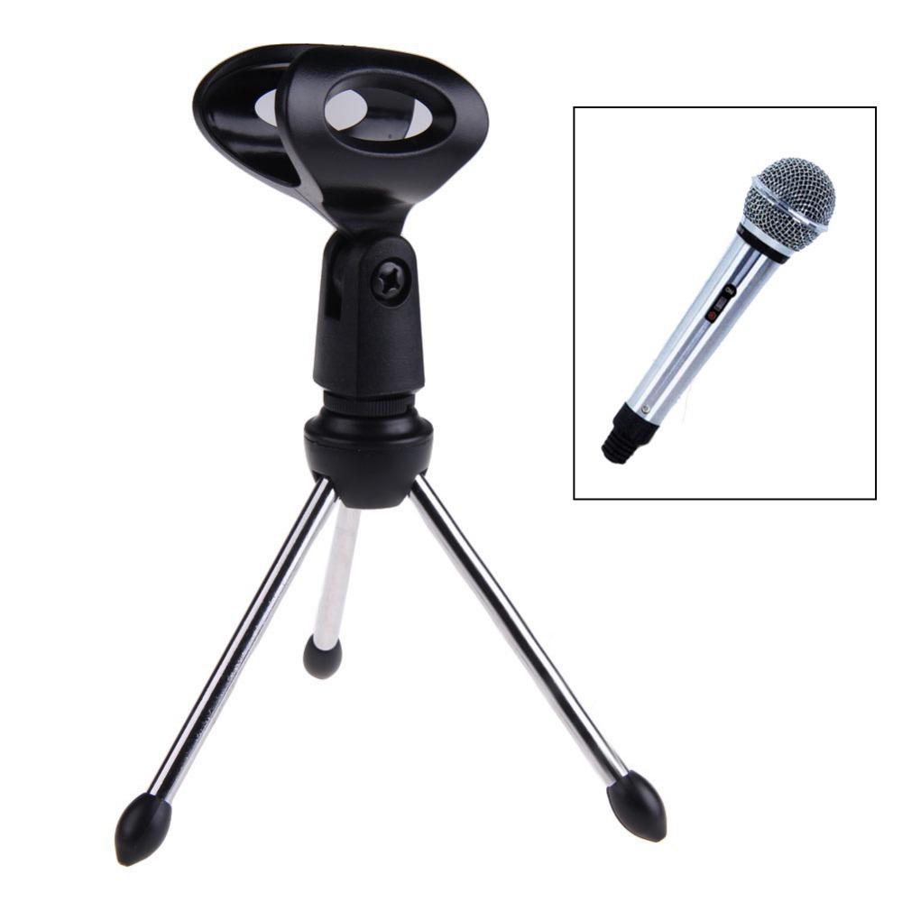 New Desktop Table Metal Mini Tripod Microphone Stand Holder Mount Mic Clip FCI#(China (Mainland))