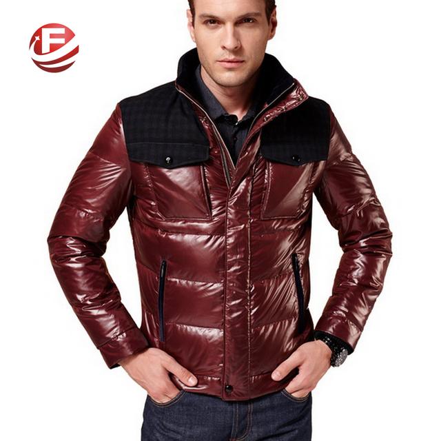 Добавить белый гусиный пух мужчины куртки Большой размер м-3xl холодная зима лоскутная ...