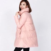 2015 New Hot Winter Light Warm Woman Down jacket Coat Parkas Outerwear Collar Slim Brand Luxury Loose Mid Long Plus Size XL Pink