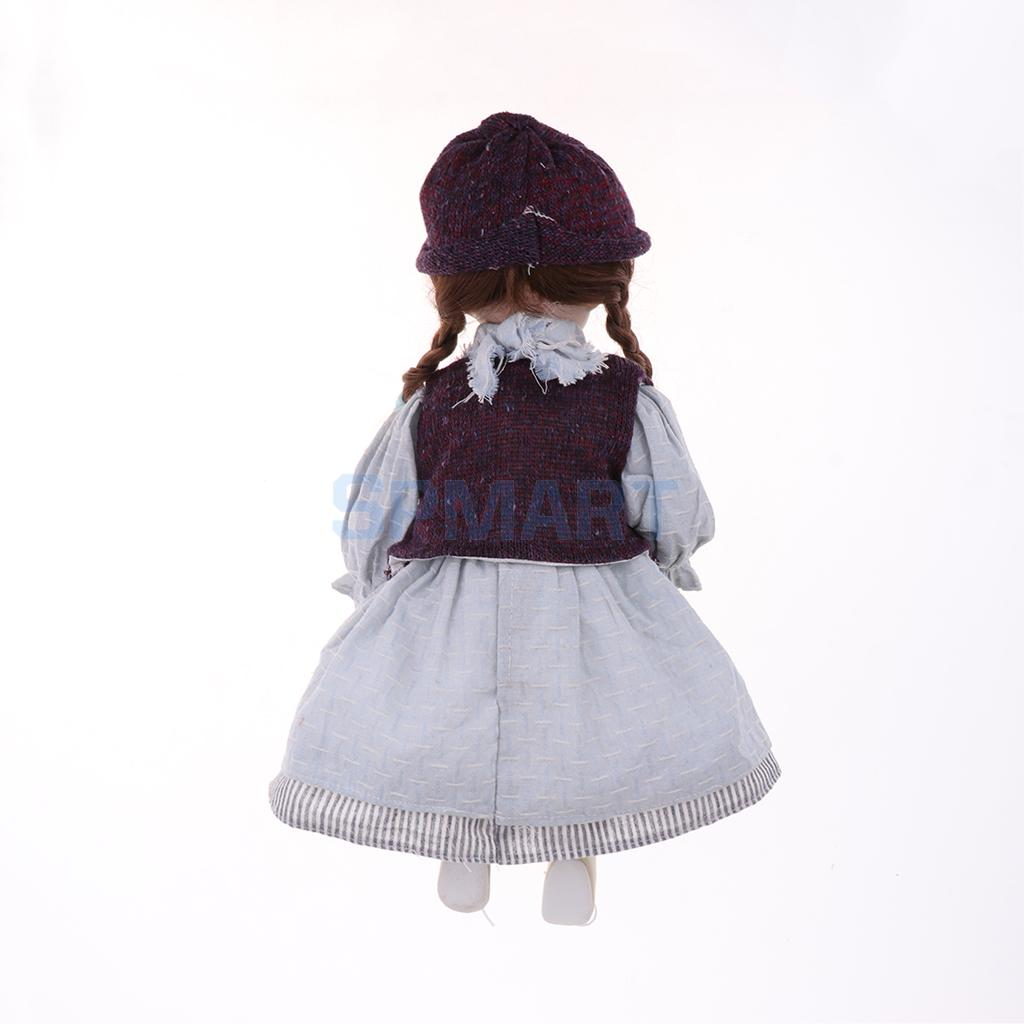 16inch Elegant Victorian Porcelain Doll with Stand Girl People Figures in Pink Dress Hat Kids Gift Adult Collections #4