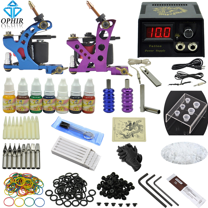 OPHIR 346pcs Professional Tattoo Kit 2 Tattoo Gun Machine with 7Colors Inks Tattoo Grips 50pcs Needles for Body Tattoo Art_TA068(China (Mainland))