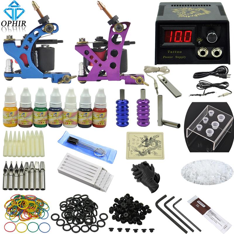 OPHIR 346pcs Professional Tattoo Kit 2 Tattoo Gun Machine with 7Colors Inks Tattoo Grips 50pcs Needles for Body Tattoo Art_TA068(China (Mainland))