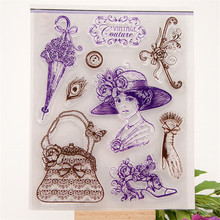 """lady and bag design"" Transparent Clear Silicone Stamps for DIY Scrapbooking Kids Christmas for Fun Decoration Supplies LIN113(China (Mainland))"