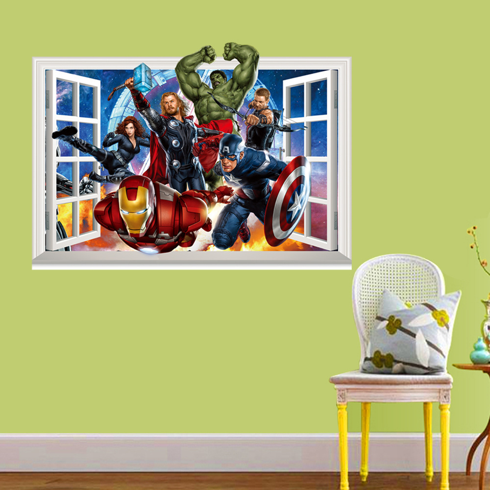 Latest 3D Super Hero Marvel Party Decoration The Avengers Wall Sticker Home Decor for Kids Room(China (Mainland))