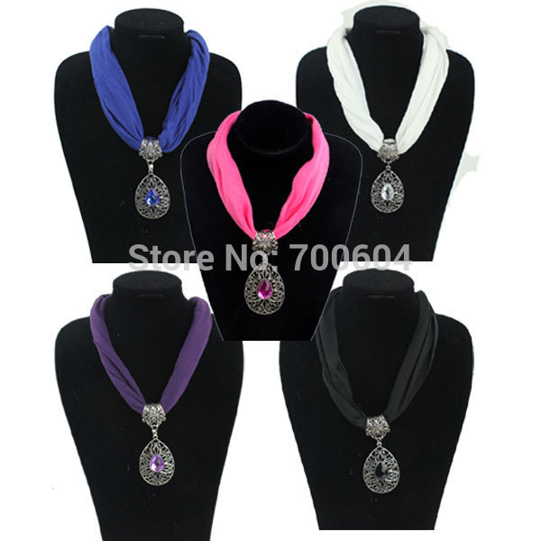 vintage imitation jewelry Fabric Choker Water Drop woman ladies girls jersey collar Pendant charm necklace scarves accessories