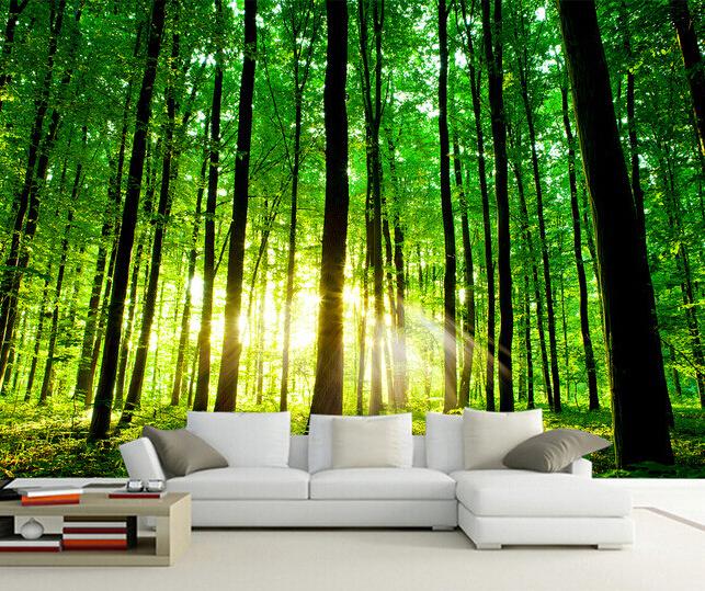 Custom 3d photo wallpaper sun forest mural for living for Waterproof wallpaper for bedrooms