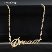 "Stainless steel Word ""Dream"" pendants Necklaces with 18K Real Rose Gold Vacuum plated,It is high quality color For women!(China (Mainland))"