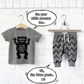 2016 Design Brand Infant Clothes Baby Clothing Sets Boy Girls Cotton Little Monsters Short Sleeve 2pcs
