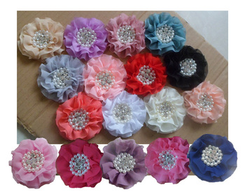"""3'""""high quality chiffon flower with sewn rhinestone & pearl parision flower , 19colors in stock, 60pcs/lot, free shipping"""