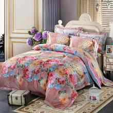 Silk/Cotton bule jacquard floral bedding sets queen king size 4pcs Luxury Boho duvet cover bed sheet set bedlinen pillowcase(China)