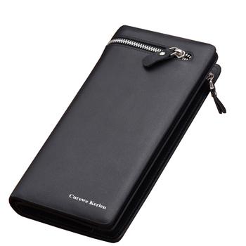 кошелек Подлинная высокое качество кожа мужчины кошельки бизнес бренд держателя карты портмоне мужских долго молния кожаный бумажник клатч кошелек мужской