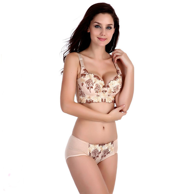 Fashion Pink Lace Bra Set Push up Lingerie Women Underwear Sets Thin Intimates Embroidery Floral 3/4 Cup Brassiere Sets(China (Mainland))