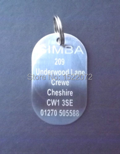 Large Stainless Steel Dog Tag & Ring, Engraved Free, For The Extra Large Dog Pet FH890216(China (Mainland))