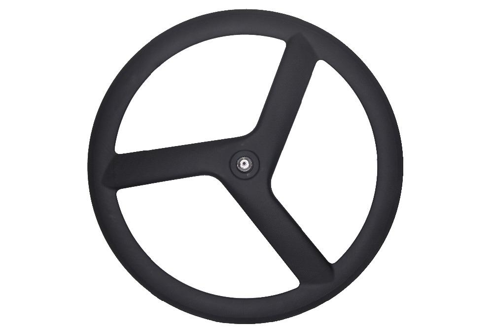 carbon tri wheels 700C Full Carbon 3 Spoke tubular wheels road or Track Bicycle clincher Wheels(China (Mainland))