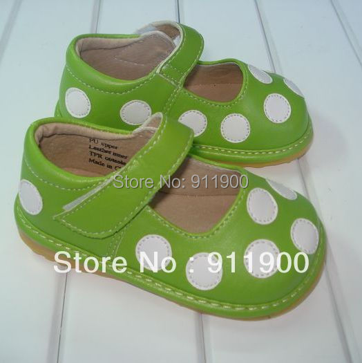 Baby Girl Squeaky Shoes Green Leather Squeaky Mary Jane ...