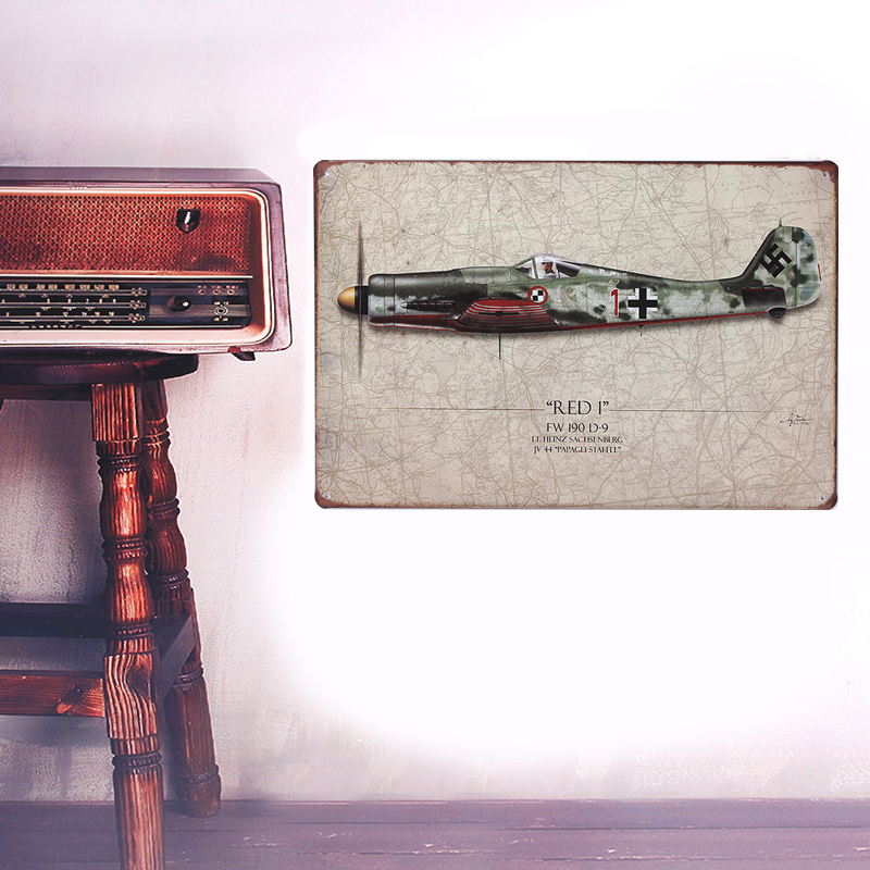 European Retro style The plane sign board Wall stickers metal iron crafts pictures Furnishing articles painting draw bar house(China (Mainland))