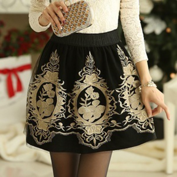 Ladies High Waist Pleated Floral Chiffon Embroidery Short Mini Skirt - Showing For Yourself store