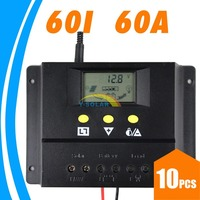 10PCS 60a Solar Charge Controller 12V 24V PV Panel Battery Charge Regulator LCD Display Auto Identification PWM Settable Voltage