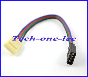 10pcs/lot 15.7cm Black 4pin Led Strip Female to White 4 pin No Welding RGB Cable Free Shipping