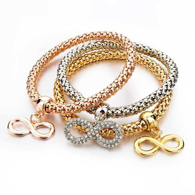 Gold-Silver Plated Bracelets with Infinity Charmes