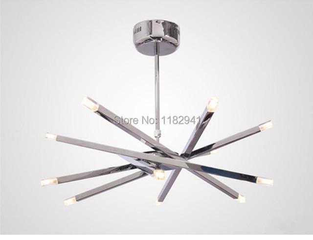 Free Shipping 2014 New 12 Light Modern Chrome Rod Star Pendant Light Hanging